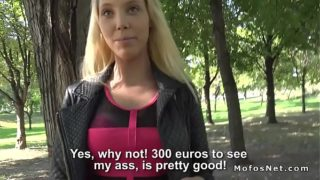 Blonde Flashes Ass For Cash In Outdoor
