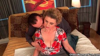 Busty Granny in Stockings Gets Her Hirsute Pussy Fucked